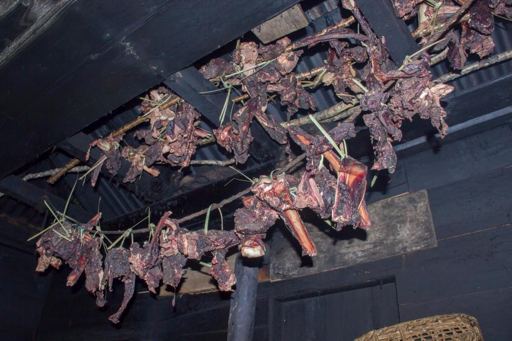 Dried beef hung from the ceiling